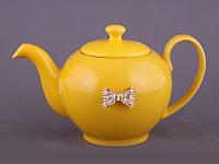 """Чайник заварочный 600 мл. керамический """"Бантик"""" желтый"""