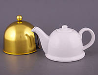"""Чайник заварочный с ситом и колпаком 800 мл. керамический """"Teapot золотистый"""" белый"""