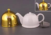 """Чайник заварочный с ситом и колпаком 800 мл. керамический """"Бант золотистым"""" белый"""