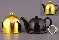 """Чайник заварочный с ситом и колпаком 800 мл. керамический """"Бант золотистым"""" черный"""