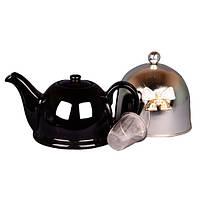 """Чайник заварочный с ситом и колпаком 800 мл. керамический """"Бант на серебре"""" черный со стразами"""