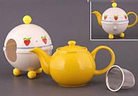 """Чайник заварочный с ситом и колпаком 600 мл. керамический """"Tea с клубникой"""" желтый"""