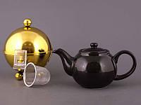 """Чайник заварочный с ситом и колпаком 600 мл. керамический """"Tea золотистый"""" черный"""