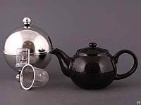 """Чайник заварочный с ситом и колпаком 600 мл. керамический """"Tea серебристый"""" черный"""