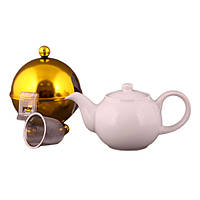 """Чайник заварочный с ситом и колпаком 600 мл. керамический """"Tea золотистый"""" белый"""