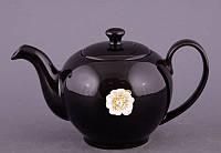"""Чайник заварочный 600 мл. керамический """"Цветок"""" черный со стразами"""