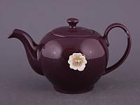 """Чайник заварочный 600 мл. керамический """"Цветок"""" фиолетовый со стразами"""