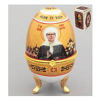 """Шкатулка пасхальное яйцо 10 см. """"Святая Матрона Московская"""" фарфоровая, пасхальная коллекция"""