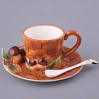 """Чашка с блюдцем и ложкой 200 мл. фарфоровая, коричневая """"Грибы"""""""