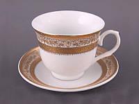 """Чайный набор на 6 персон, 12 предметов 220 мл. """"Золотые орнаменты"""" белый с золотистым"""