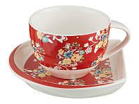 """Чайный набор на 1 персону, 2 предмета 250 мл. """"Хоровод"""" красный"""