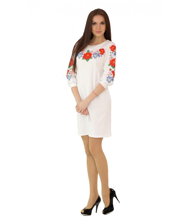"""Платье вышитое крестиком белое """"Маки с барвинком"""" М-1027-1"""
