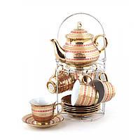 """Чайный набор на металлической подставке. на 6 персон, 14 пр. """"Золотой узор"""""""