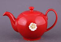 """Чайник заварочный 600 мл. керамический """"Цветок"""" красный со стразами"""