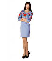 """Женское вышитое платье голубое """"Маки с барвинком"""" М-1027-3, фото 1"""