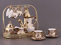 """Чайный сервиз на металлической подставке на 6 персон, 16 пр. """"Цветы на золотом"""""""