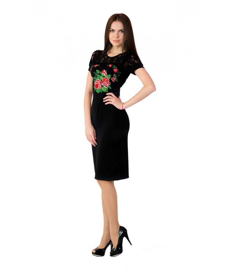 Платье вышитое женское черное с гипюра М-1042
