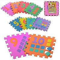 Коврик мозаика M 0375 EVA, цифры, обучающий, 10 элементов - пазлы, с цифрами, фигурами, в кульке 30*30*8 см