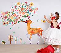 Наклейка Олень с рогами из цветов 1080х920 мм