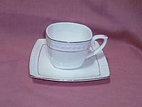Чашка с блюдцем чайная белая с золотой полосой фарфоровая