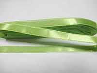 Стрічка атласна  двостороння 1 см ( 10 метрів) салатова яскрава світла G471