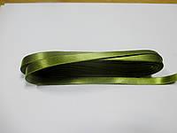 Стрічка атласна  двостороння 1 см ( 10 метрів) хакі яскрава Н 073