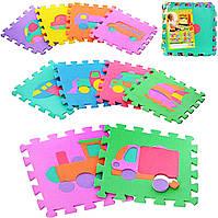 Игровой коврик мозаика M 0377 EVA, транспорт, 10 деталей 30*30 см, развивающие и обучающие игры малышей