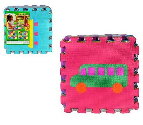 Игровой коврик мозаика M 0377 EVA, транспорт, развивающий, 10 деталей. , фото 2