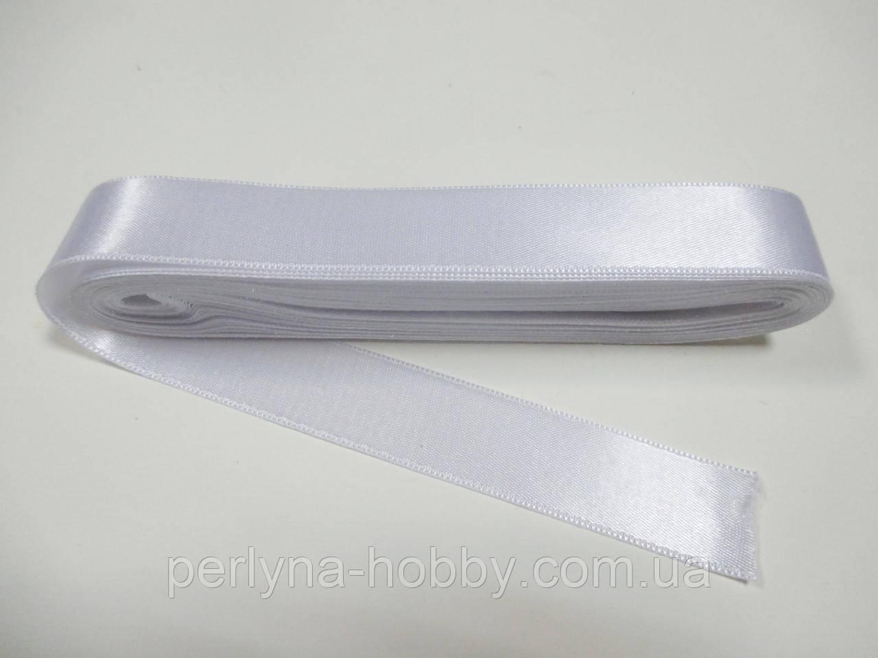 Стрічка атласна  двостороння 2 см ( 10 метрів) біла Н 02-000