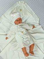 Крестильная пеленка-уголок с рубашкой и шапочкой Ангел