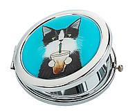 Зеркальце карманное косметическое Кот со стаканом