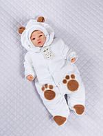 """Велюровый утепленный человечек на выписку для новорожденных с шапочкой """"Панда"""" (белый)"""