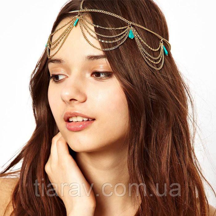 Підвіска для волосся Хвиля ланцюжок на голову тіара прикраса для волосся
