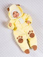 """Велюровый человечек на выписку для новорожденных с шапочкой """"Панда"""" (желтый)"""