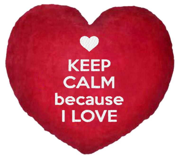 "ПОДУШКА-ВАЛЕНТИНКА У ФОРМІ СЕРЦЯ №15 ""Keep calm because I love"""