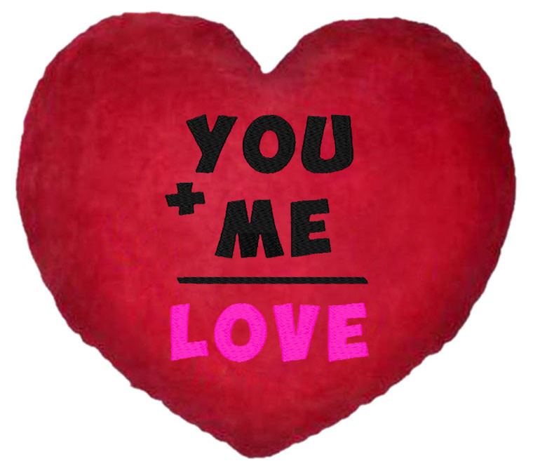 "ПОДУШКА-ВАЛЕНТИНКА В ФОРМЕ СЕРДЦА №16 ""You+Me=Love"""