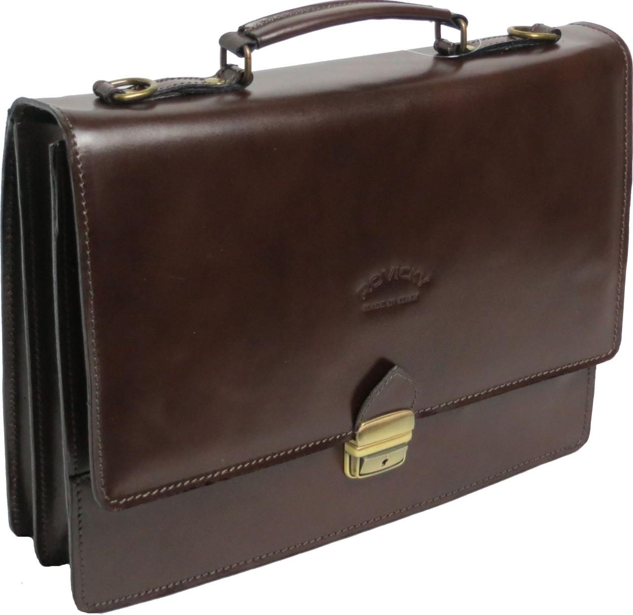 Мужской портфель из качественной натуральной кожи Rovicky AWR-2-2 коричневый