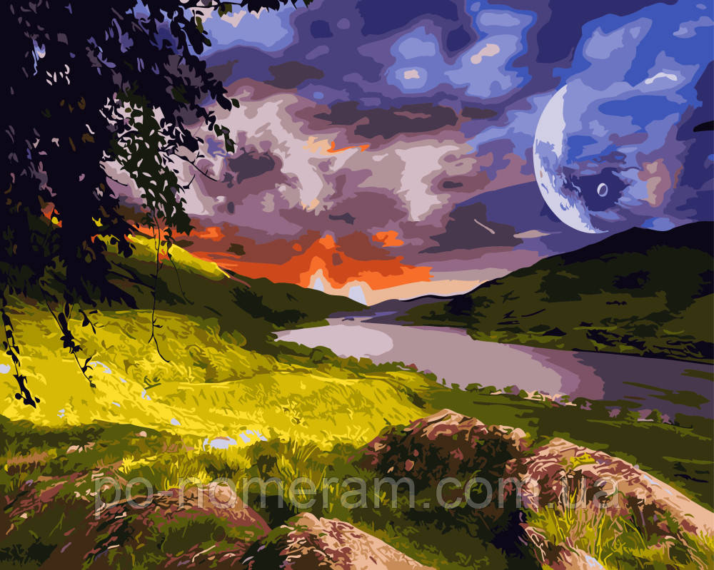 Картина раскраска по номерам без коробки Волшебный закат ...