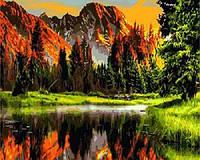Картина по номерам без коробки Закат в горной долине (BK-GX3348) 40 х 50 см