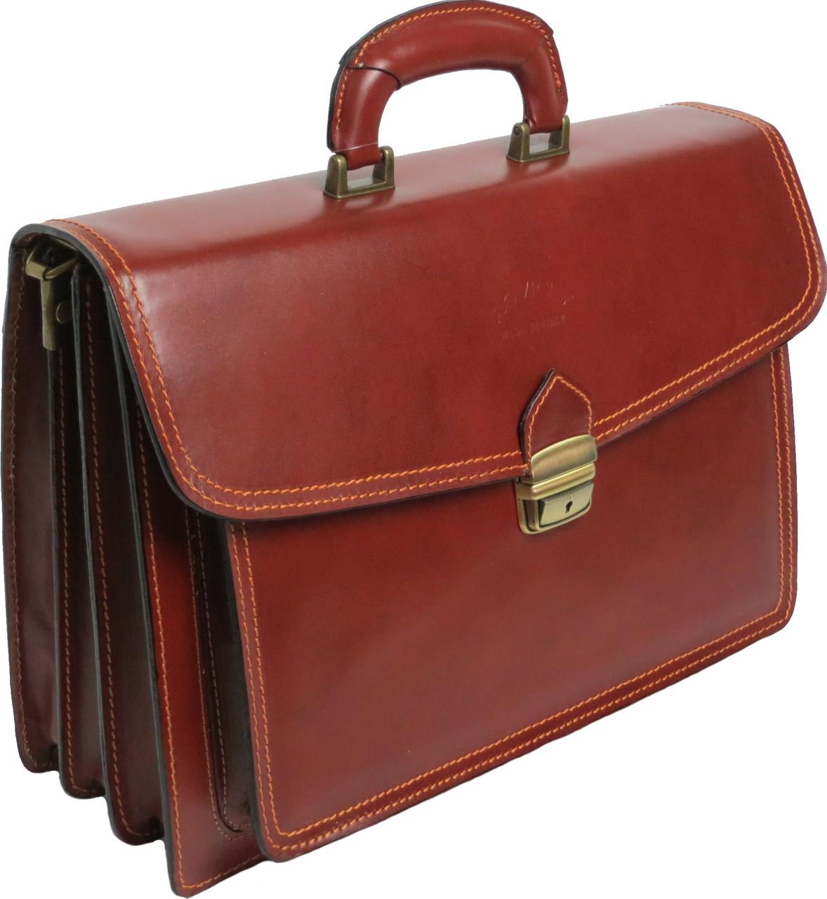 Деловой кожаный портфель Rovicky AWR-3-1 цвет коньяк
