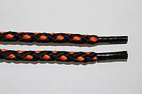 Шнурки 5мм черный+оранжевый, фото 1