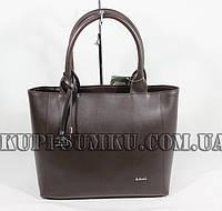 Модная сумка шоколадного оттенка кожзам