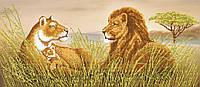 """Схема для вышивки бисером """"Семья львов"""", 24х55 см"""