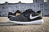 Кроссовки мужские Nike Roshe Run Flyknit Black White