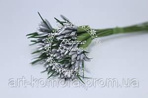 Тычинки острые серебряные, 10 веточек в наборе