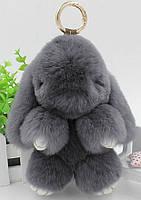 Кролик подвеска из натурального меха (Темно серый)