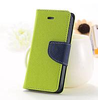 Светло-зеленый чехол-книжка для Iphone 4/4S на магнитной застежке и с ремешком на руку
