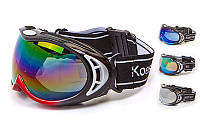 Очки лыжные BC-928-2 (акрил, пластик, PL, эластан, цвет оправы черный, серый, красный)