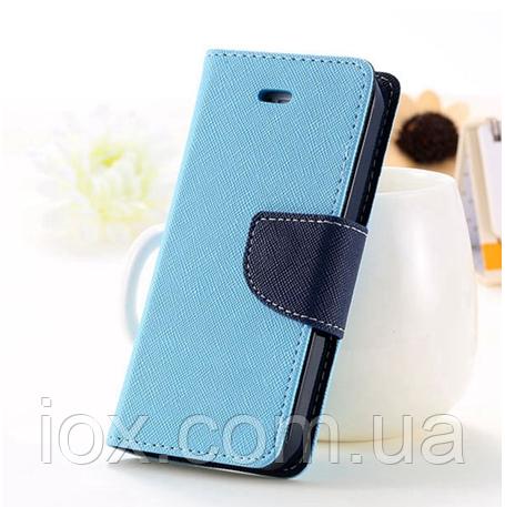Блакитний чохол-книжка для Iphone 4/4S на магнітній застібці і з ремінцем на руку