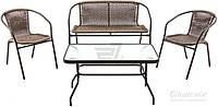 Комплект складной садовой мебели искусственный ротанг  (2 кресла, диван и стеклянный столик)